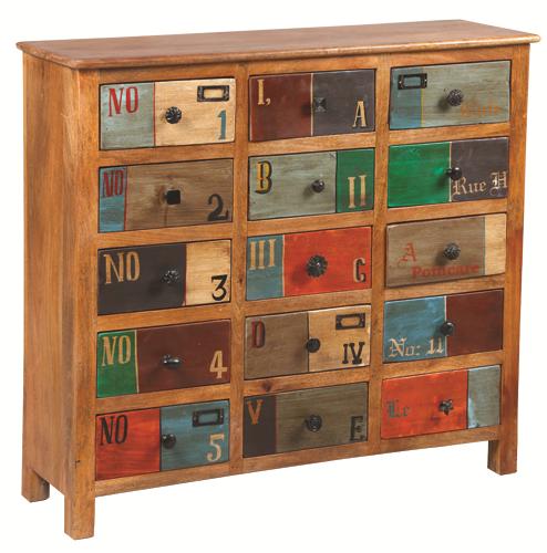 meuble de rangement bois multicolo numéro réf:1857