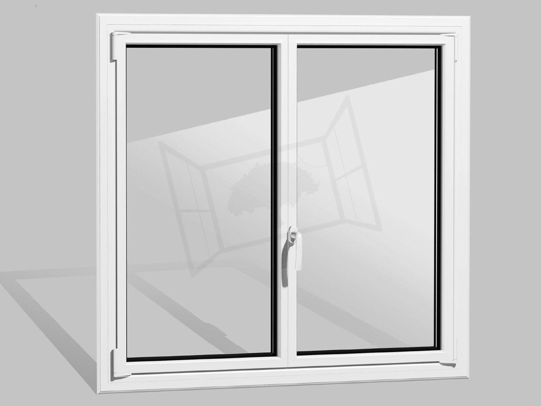 Fenetre 2 vantaux alu aluminium prefal maxilight blanc 9016 rupture thermique