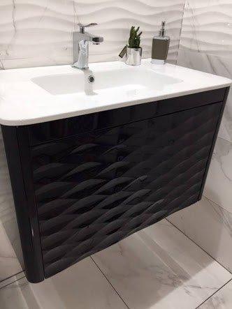 meuble salle de bain noir design contemporain ambiance pierre carrelage
