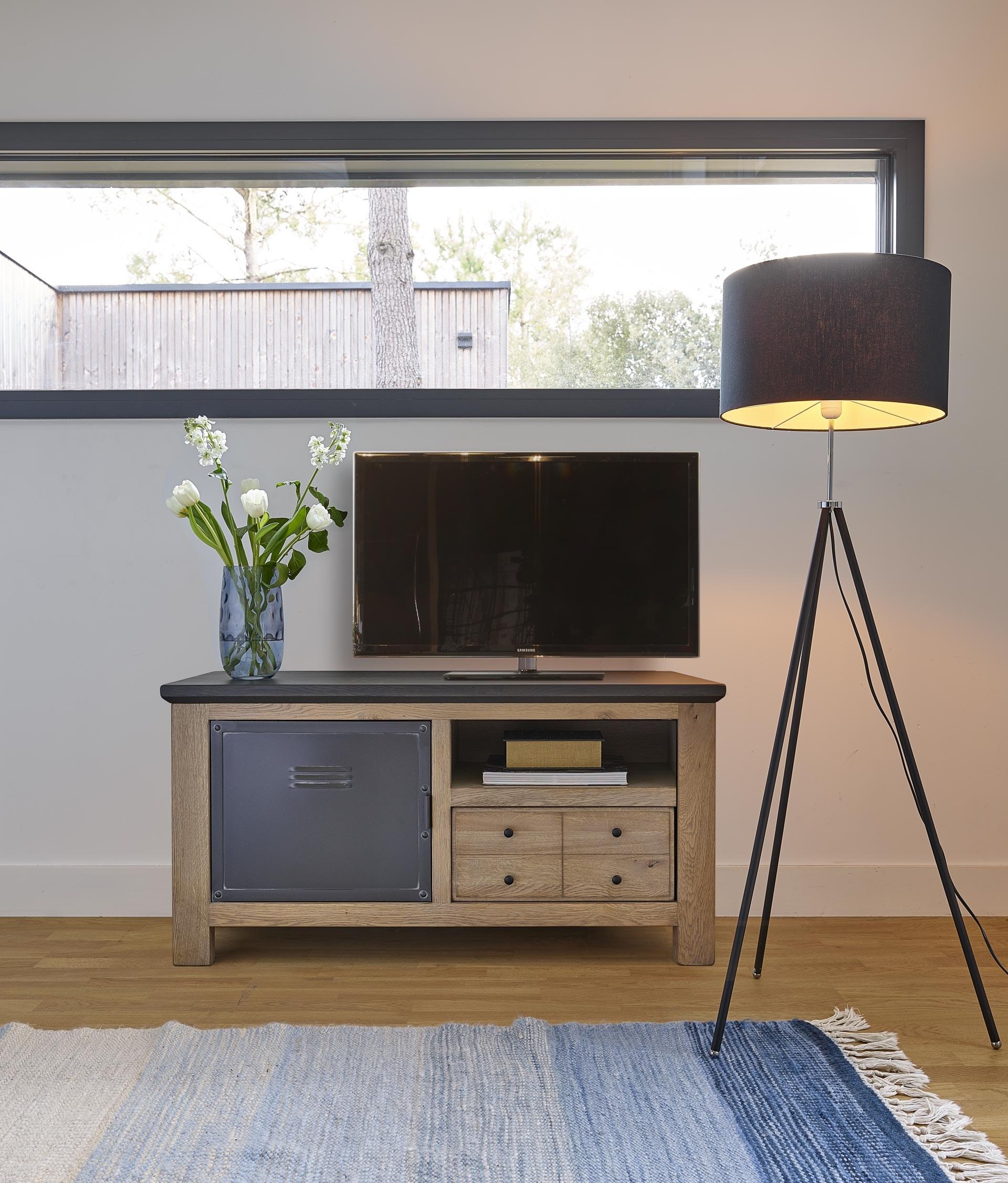 MADISON Meuble tv chêne porte métal