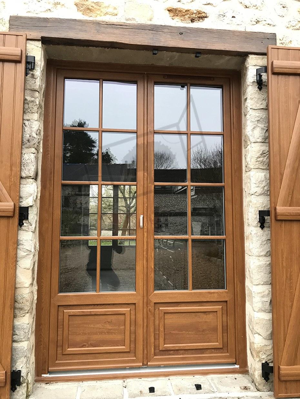 porte fenêtre pvc chene doré croisillon intercalaire fictif PVC renovation bipa