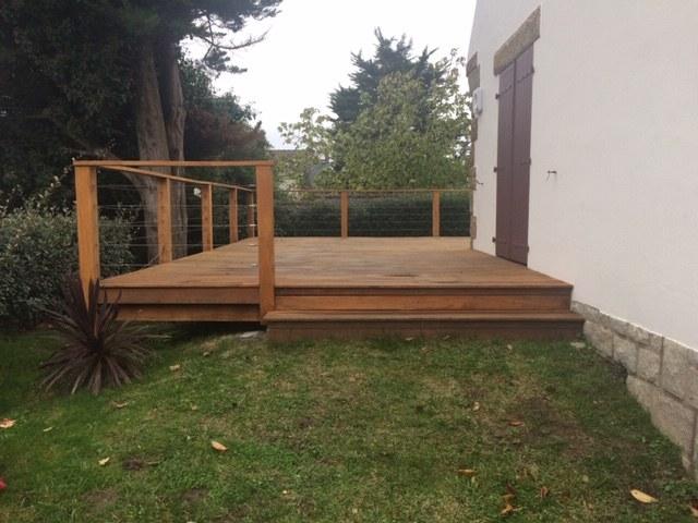Terrasse bois avec garde corps