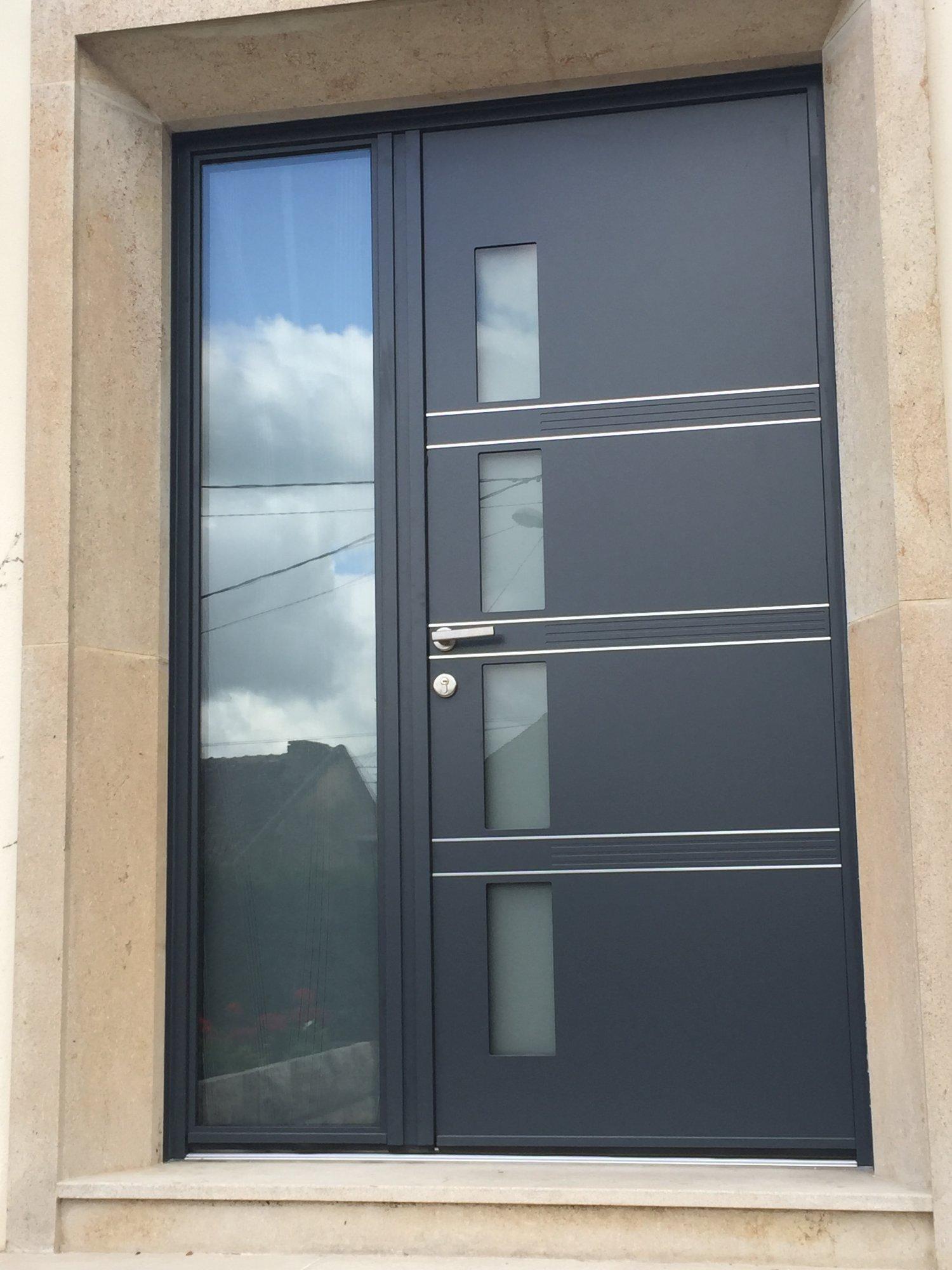 Espit d'ouvertures Porte d'entrée Aluminium Alu Tierce Gris 7016