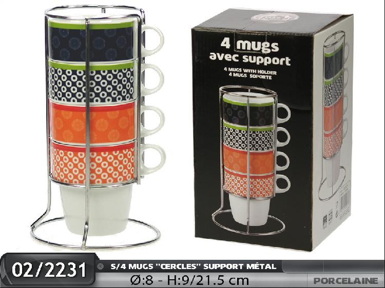 set de 4 mugs avec support metal