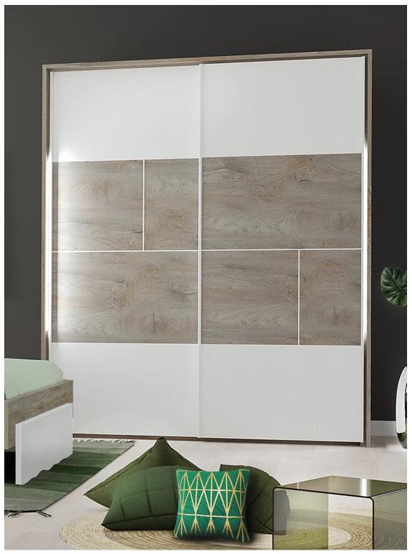 armoire prado laque blanc et bois moderne