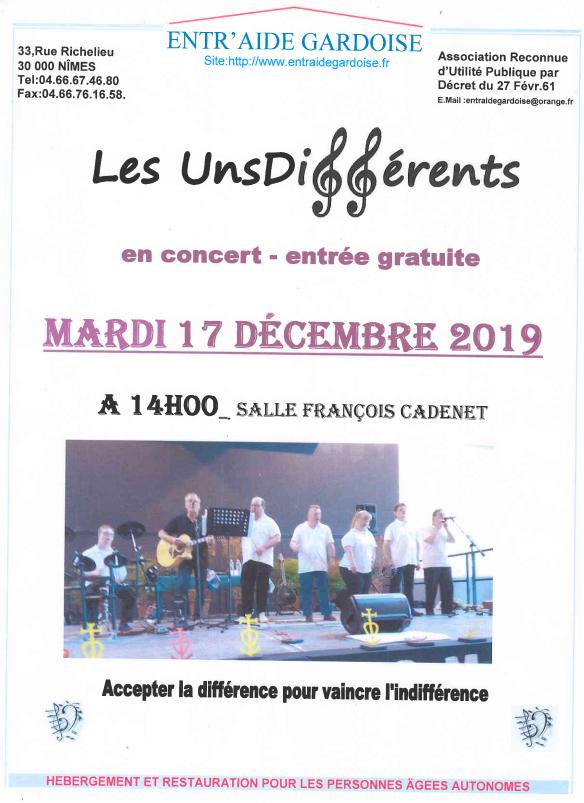 Concert gratuit - Entr'Aide Gardoise - Nîmes