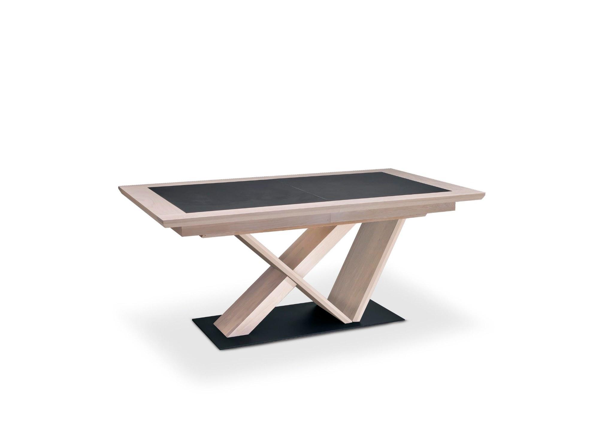Table Belem pied central dessus céramique grise