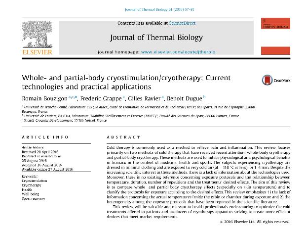 Aurore concept cryothérapie article scientifique bouzigon 1