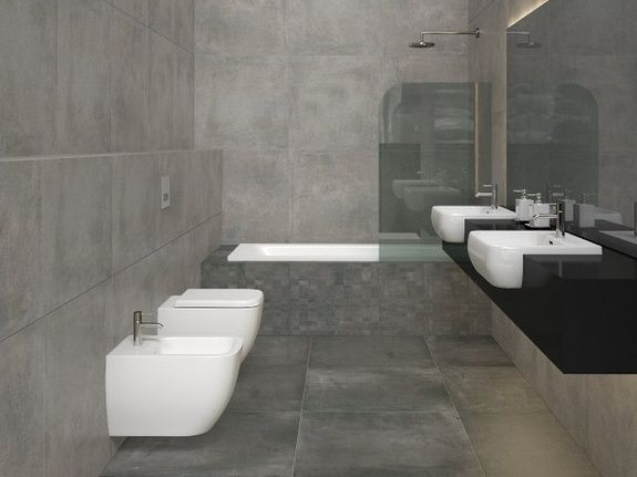Effet b ton ambiance pierre et carrelage mat riaux de - Beton cire pour carrelage salle de bain ...