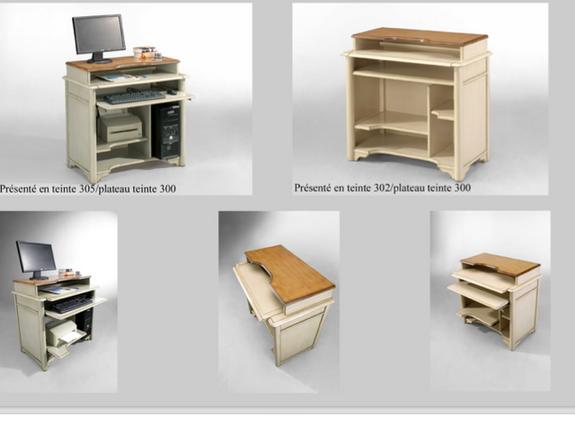 Petit bureau informatique et roulette au bois dormant au bois