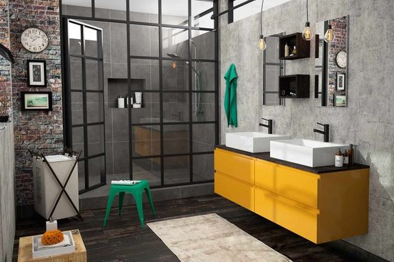 meuble de salle de bains indutriel jaune moutarde